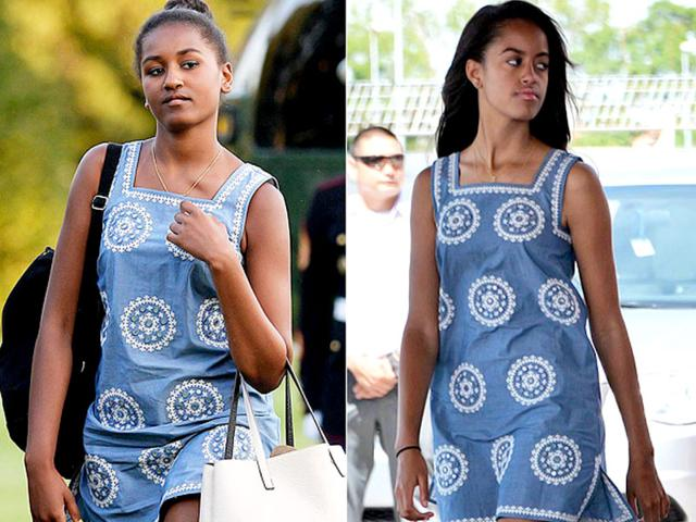 Sasha Obama was recently spotted sporting an embroidered blue frock that her older sister, Malia, wore earlier in 2015. (Twitter Photo)