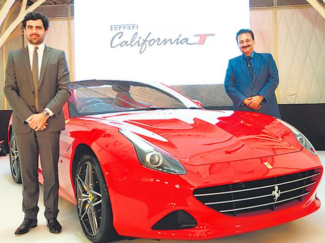 Sauvard (left) and Kachalia with the California T in Mumbai on Wednesday. Ferrari hopes to sell 15-20 cars by the end-2015. Photo:HT