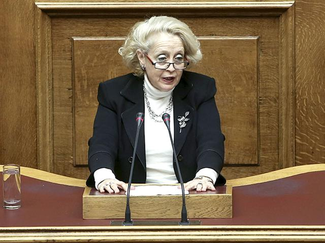Supreme Court judge Vassiliki Thanou addresses a parliamentary session on the occasion of the International Women's Day in Athens (Reuters Photo)