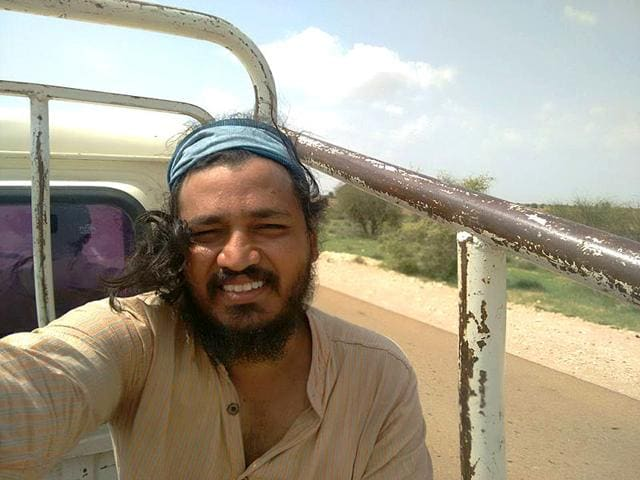 A selfie taken by theatre activist Akram Feroze while travelling through Rajasthan. (Photo: Facebook)