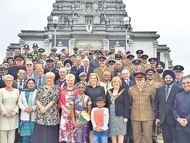 Members of the British armed forces attend an event at the Balaji Temple, Birmingham. Ministry of Defence, UK (HT Photo)
