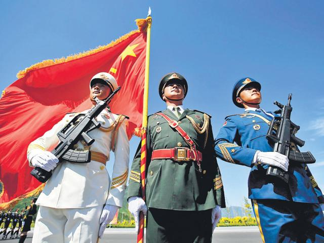 Soldiers of People's Liberation Army during a training session for the Sept 3 military parade in Beijing, China. (HT Photo)