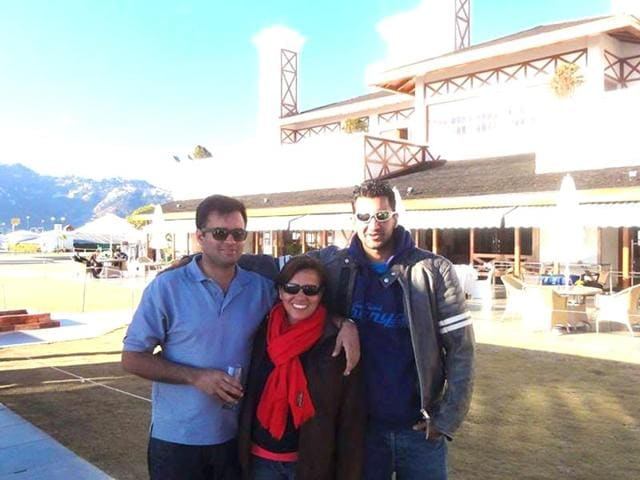 Shabnam Anand Singh (Peter Mukerjea's first wife) with her sons - Rahul (right) and Robin (left) in Mussoorie. (Photo courtesy: Shabnam Anand Singh's Facebook profile)