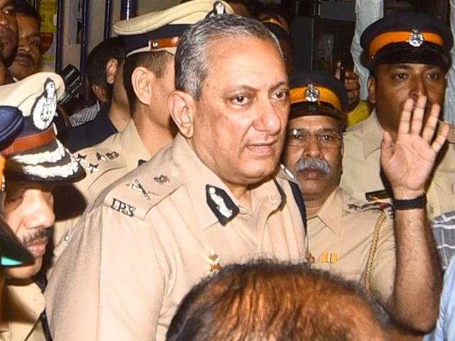 Mumbai Police commissioner leaves a police station after questioning Indrani Mukerjea. (AFP Photo)