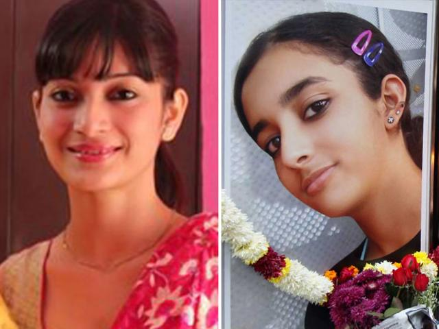 The manner in which the media reportage of the Sheena Bora (left)murder mystery is progressing is uncannily similar to coverage of the 2008 murder of teenager Aarushi Talwar (right), though the cases bear little resemblance. (File photos)