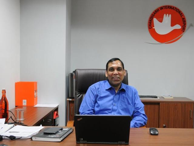 Suneel Dutt, CEO, Chandigarh International Airport (HT Photo)