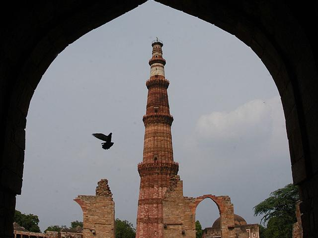 Built of red and buff sandstone, Qutub Minar has five storeys and four balconies. (Photo: Saumya Khandelwal/HT)