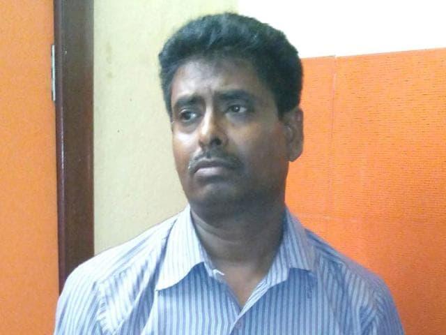 Samaresh Sarkar, the main accused in the alleged murder of a woman with whom he had an extra-marital affair. (Suvajit Basu/HT Photo)