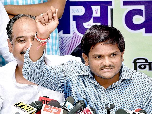Hardik Patel, convener of Patidar Anamat Andolan Samiti speaks during the
