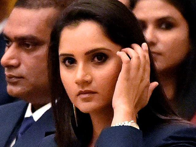 Indian tennis player Sania Mirza at the ceremony to receive her Khel Ratna award at Rashtrapati Bhavan, on August 29, 2015. (PTI Photo)