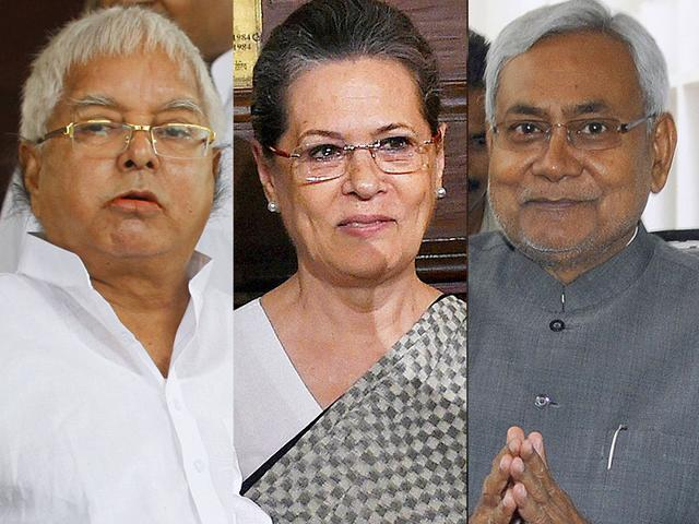 A combination photo of RJD chief Lalu Prasad, Congress president Sonia Gandhi and Bihar chief minister Nitish Kumar. (Agencies)