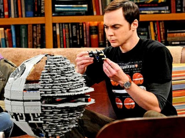 Sheldon (played by Jim Parsons) fixing up a lego Death Star in an episode of The Big Bang Theory.