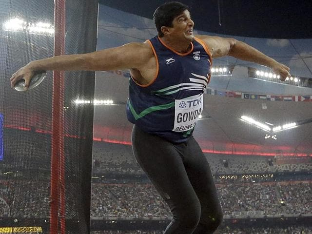 Vikas Gowda competes in the final of the men's discus throw at the World Athletics Championships at the Bird's Nest stadium in Beijing on August 29, 2015. (AP Photo)