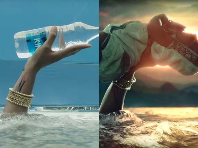 Here's how Sivagami saves the scion of Mahishmati, Mahendra Baahubali, before VFX and after VFX.