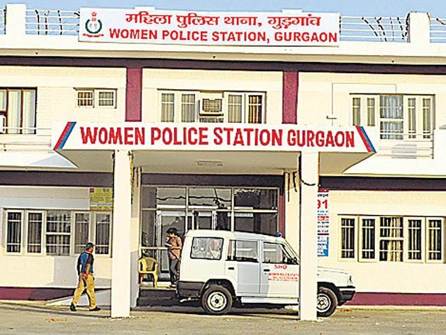 People wait outside the first all-woman police station at Sector 51, Gurgaon to register their complaints on Sunday.(Parveen Kumar/ HT Photo)