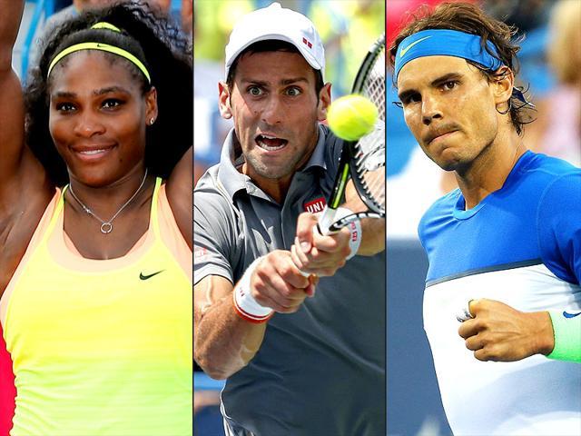 A composite photograph of Serena Williams, left, Novak Djokovic, centre, and Rafael Nadal.
