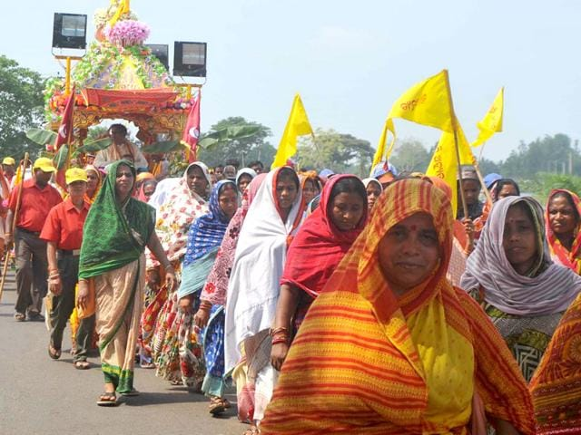 Surendra Mishra alias Sura Baba being carried in a chariot by women devotees. (File Photo)