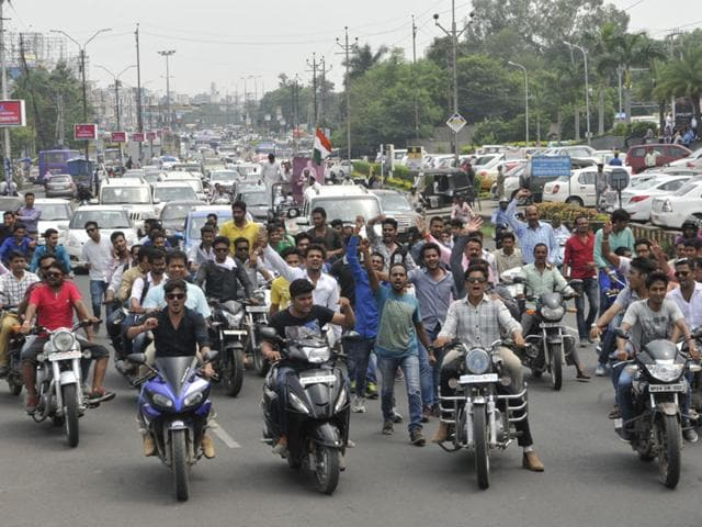 Members of Patidar community take out a rally from Misrod on the outskirts of Bhopal in support of the Gujarat agitation, on Monday. (Praveen Bajpai)