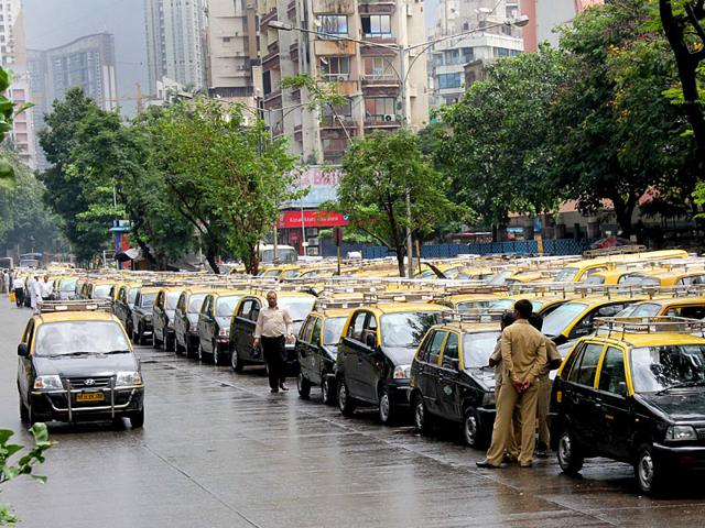 Taxis parked at a terminal in Bombay Central during trade union workers' nation-wide strike in Mumbai on Wednesday. (Bhushan Koyande/HT)