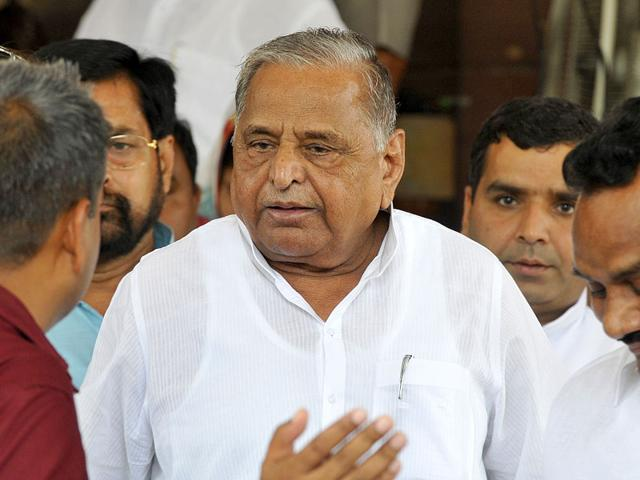 SP chief Mulayam Singh Yadav after meeting Lok Sabha Speaker Sumitra Mahajan during a Parliament session in New Delhi. (Sonu Mehta/HT File Photo)