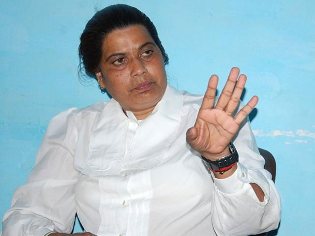 Seema Parihar is a former bandit and politician. She is a member of the Samajwadi Party. Parihar claims that her inspiration is Phoolan Devi, who was known as the Bandit Queen, and had also been a bandit before becoming a politician. (Anup Yadav/ HT Photo)