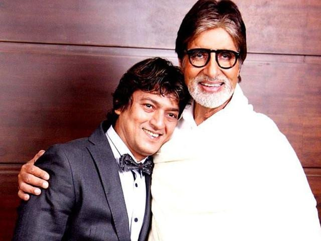 In this file photo, Aadesh Shrivastava poses with Amitabh Bachchan.