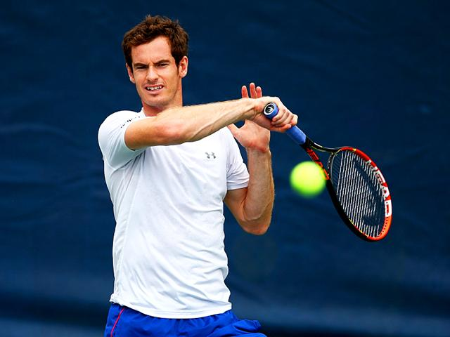 Andy Murray of Great Britain during a practice session ahead of his men's singles third-round match of the 2015 US Open n New York, on September 4, 2015. (AFP Photo)