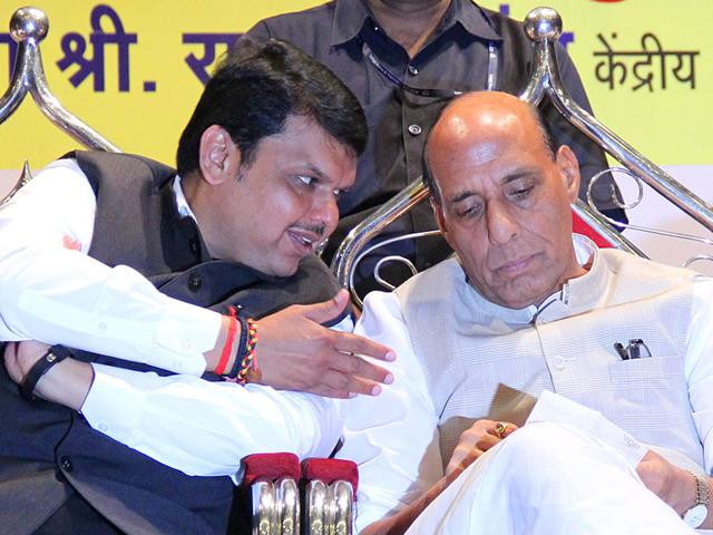 Union home minister Rajnath Singh and Maharashtra CM Devendra Fadnavis at a meeting of party workers at KC College in Mumbai. (Photo: Bhushan Koyande)