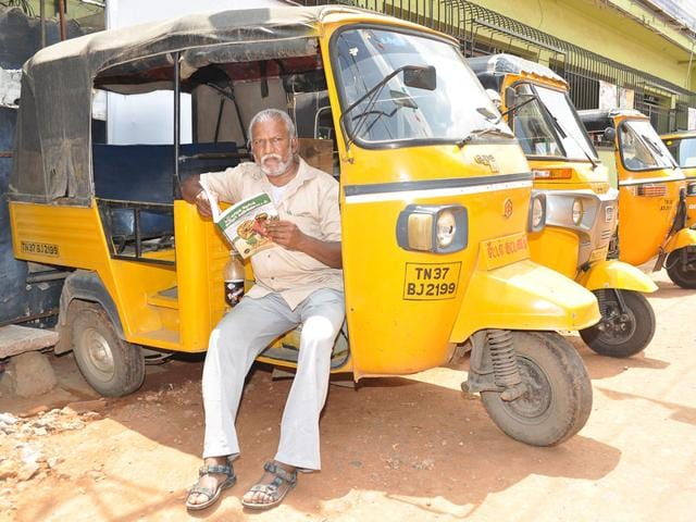 M Chandrakumar, the Coimbatore-based 53-year-old auto-rickshaw driver is packing his bags for the Venice Film Festival to participate in the screening of a Tamil feature film based on his novel. (HT Photo)