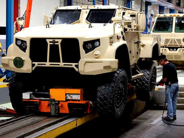 A Joint Light Tactical Vehicle (JLTV) at Oshkosh's Production Facility in Oshkosh, Wisconsin. The US Army announced a $6.75 billion contract to buy nearly 50,000 of the vehicles before 2040. (AFP Photo)
