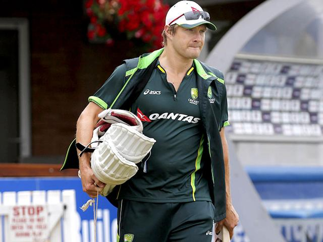 Australia's Shane Watson walks out before the start of the nets session in Northampton. (Reuters)