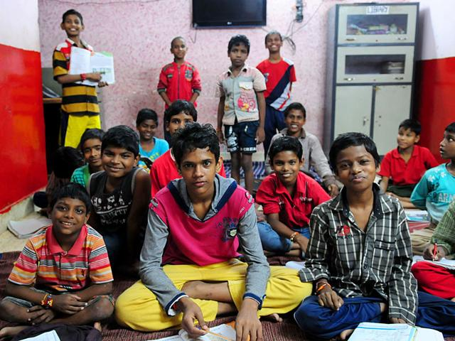 Mohammad Ramzan (Centre) at the Childline shelter home in Bhopal. Ramzan fled Bangladesh where he lived with his father to reach Pakistan to meet his mother. He was caught by police in Bhopal. (Mujeeb Faruqui / HT Photo)