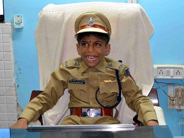 Sahil Patil, who is terminally ill, donned the khaki uniform and occupied the chair of the police station's senior inspector. (Photo: Rishikesh Choudhary)
