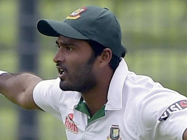 A file picture taken on May 6, 2015 shows Bangladesh cricketer Shahadat Hossain reacting after taking a catch to dismiss Pakistan batsman Sami Aslam during the first day of the second cricket Test match between Bangladesh and Pakistan at the Sher-e-Bangla National Cricket Stadium in Dhaka. (AFP Photo)