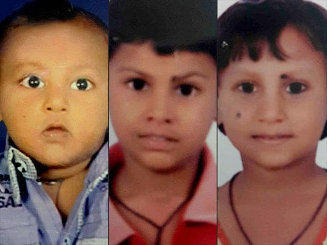Sultan (4), Afnan (8) and Afreen (6) were murdered by their mother's lover. (HT Photo)