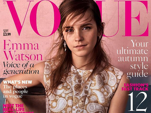 6817bf8b41bf Emma Watson is the cover star for Britsh Vogue s September issue. The actor  and UN campaigner appears for the second time on the cover. (Twitter Photo)