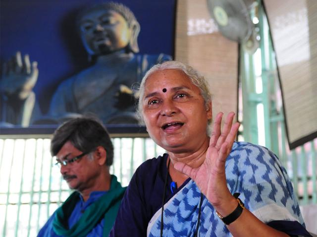NBA leader Medha Patkar addressing a press conference in Bhopal on Tuesday. (Mujeeb Faruqui/HT photo)