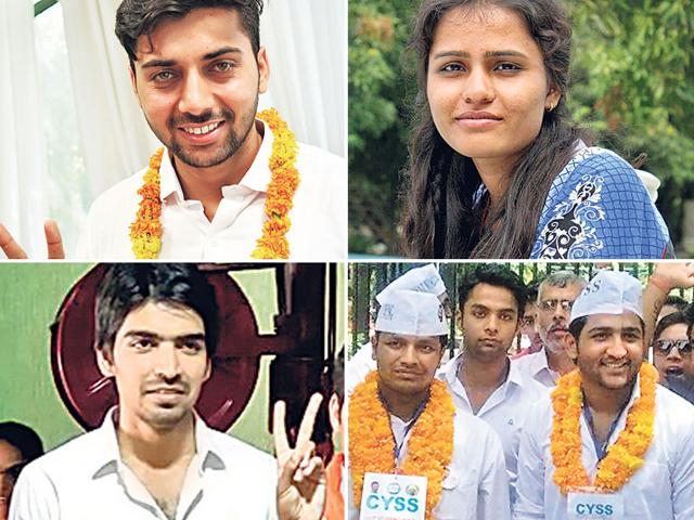 Candidates for the presidential post: (clockwise) Pradeep Vijayran from NSUI, Sheetal Bhopal from AISA, Kuldeep Bidhuri from CYSS and Satinder Awana from ABVP.