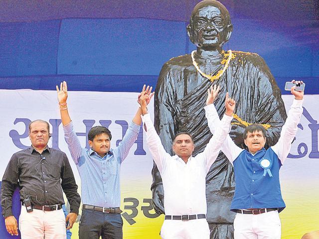 Dinesh, Hardik, Lalji and Ketan Patel at an agitation for seeking reservation for Patels (HT File Photo)