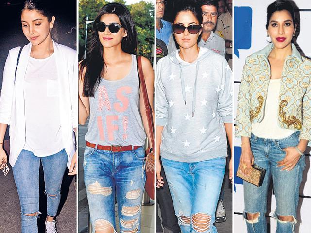 Anushka Sharma, Kirti Sanon, Katrina Kaif and Sophie Chaudhary ace the distressed denims.