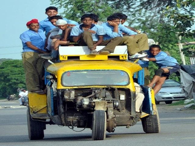 Students riding dangerously on Bhadson road at Patiala on Wednesday. (Bharat Bhushan/HT)