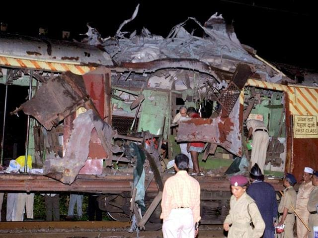 A first-class ladies compartment of a Mumbai suburban train was ripped apart by bomb blast at Jogeshwari station. (PTI file photo)