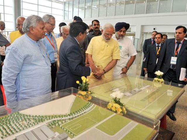 Prime Minister Narendra Modi during the inauguration of new terminal at Chandigarh airport. (Photo credit: @PIB_India)