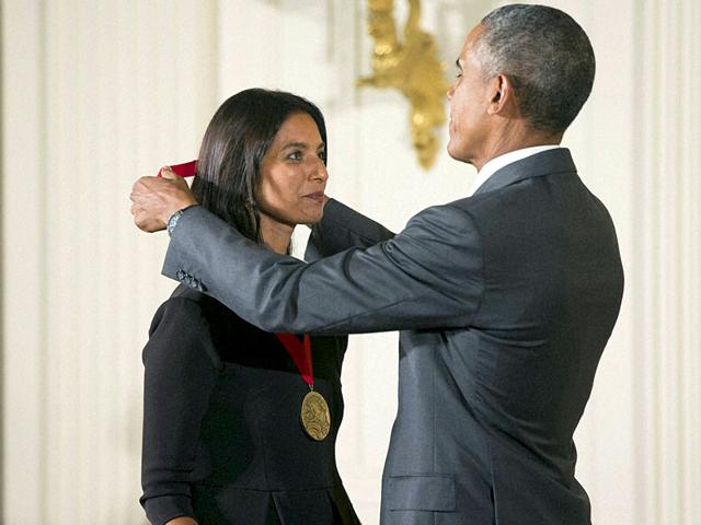 The Lowland author Jhumpa Lahiri receiving the National Humanities Medal from US President Barack Obama. (AP Photo)