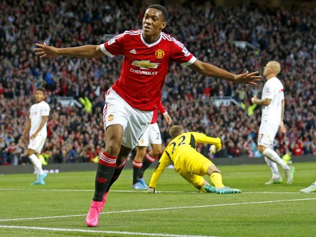 Manchester United's Anthony Martial celebrates after scoring the third goal for his team against Liverpool in the English Premier League match at Old Trafford, on September 12, 2015. (Reuters Photo)