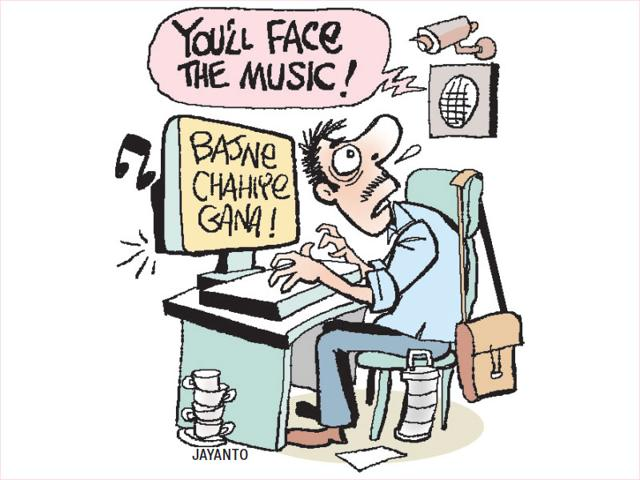In the season of bans, the Delhi government has warned its officials of disciplinary action, if they are found browsing their Facebook accounts, engaging in leisurely chats or listening to or downloading music online. (Illustration: Jayanto)