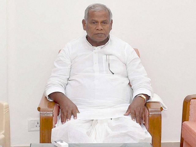 Former Bihar CM Jitan Ram Manjhi at Bihar Niwas in New Delhi on Sunday. (PTI Photo)