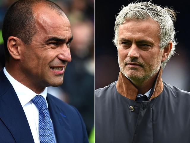 A composite photograph of Everton manager Roberto Martinez, left, and Chelsea manager Jose Mourinho. (AFP Photo)