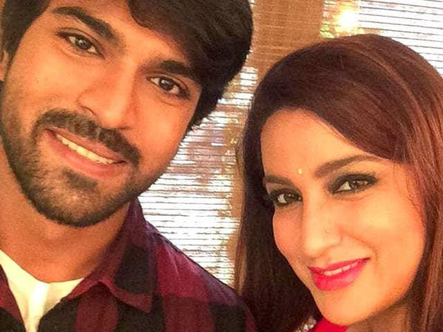 Selfie time: Tisca Chopra poses with Ram Charan. (tiscatime/Twitter)