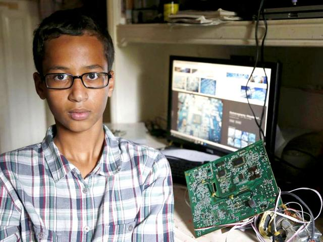 Ninth grade student Ahmed Mohamed, 14, was taken in handcuffs to juvenile detention after taking a homemade clock to school. (Photo: Dallas Morning News)
